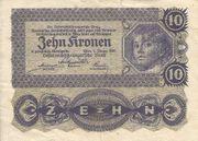 10 Kronen Banknote Österreichisch Ungarische