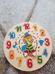 Lern Uhr Puzzle Holz Steckspiel