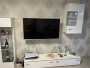 Wohnwand Hochglanz weiß mit LED
