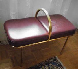 2-Personen Leder- Sitzbänkchen mobil und praktisch