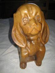 Hund echte geschnitzte Holzfigur Figur