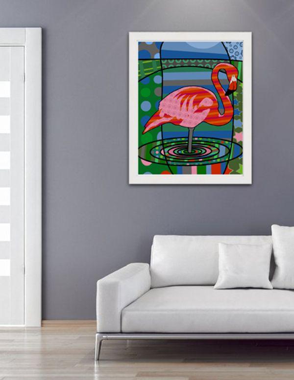 Neo Pop Art Kunstdruck Flamingo