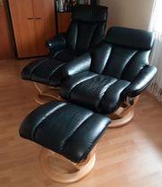 Relaxsessel mit Hocker schwarzes Leder