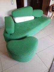 Designersofa Brühl in grün weiß