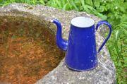 Emaille Kanne Wasserkanne Krug dunkelblau