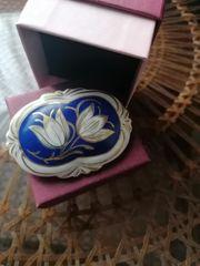 Porzellanbrosche handbemalt von Bavaria Bareyther