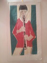 Der Flötenspieler Pastellzeichnung 50er Jahre