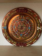 Aztekenkalender auf Kupferteller Wandteller