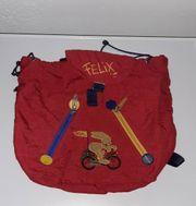 Roter Kinderrucksack Turnbeutel Felix der