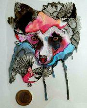 Textile Aufkleber Hund mit Vogel