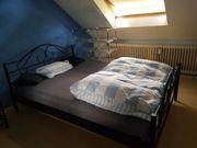 Metallgestell Bett 140x100 schwarz Nachttisch