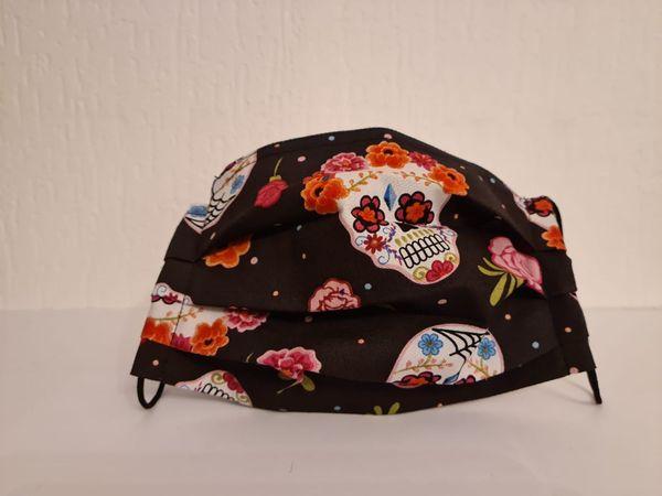 Gesichtsmaske - Behelfsmaske - Halloween - Skull - Rosen