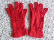 Vintage - Handschuhe Fingerhandschuhe Strickhandschuhe rot