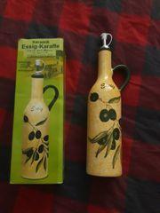 Keramik Essig und Ölkaraffe handbemalt
