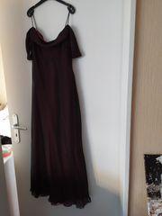 Damen Abendkleid doppellagig Schwarz pink -
