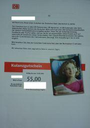 Gutschein der Deutschen Bahn
