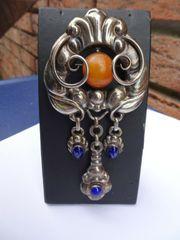 Dänische Jugendstil-Silberbrosche Silver Brooch mit