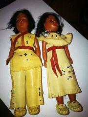 2 alte Zelluloid Puppen Indianerinnen
