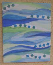 Keilrahmen-Bild Wellen Meeresfarben Mosaik handgemalt