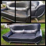 Echtledersofa-schwarz 2-Sitzer-sehr gut erhalten 197cm