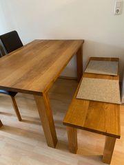 Eiche Massivholz - Tisch 2 Stühle
