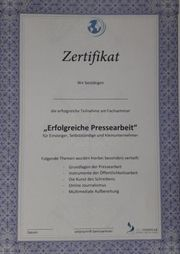 Seminar Selbststudium Erfolgreiche Pressearbeit Zertifikat