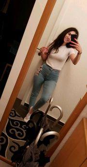 Skinny-Jeans Blumenmuster