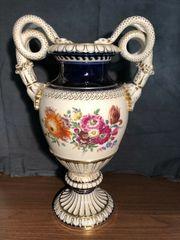 Meissen Schlangenhenkelvase Blumen 1924-1934 Prunkvase
