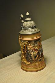 Antiker Bierkrug 1899 mit Zinndeckel