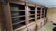 Bibliotheksschrank handgefertigt Eiche massiv