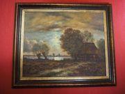Landschaft im Abendlicht Original-Ölgemälde von