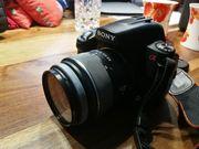 Set Spiegelreflexkamera Sony Blitz Teleobjektiv