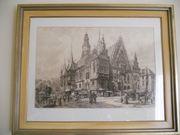 Original Radierung Alt Rathaus Breslaus