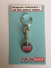 Einkaufswagenchip Metall mit Schlüsselanhänger -Sammlerstück-