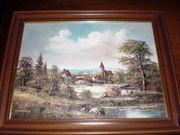 Ölgemälde Dorf Kunstmaler J Behringer