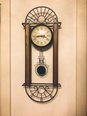 Wanduhr Pendel Uhr Metall Holz