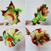 Untersetzer Deko Epoxidharz bunt Blätter