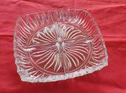 Schwere eckige Glasschale 4 geteilt