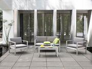 Gartensofa Aluminium 2-Sitzer Auflagen hellgrau