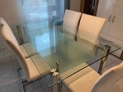 Glastisch 150x90 mit Ablage aus