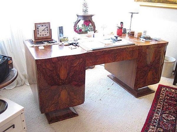 Artdeco-3er Set Schreibtisch Stuhl Tisch