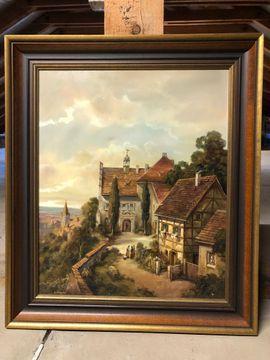 Gemälde Häuserlandschaft mit Holzrahmen von O. Wagner