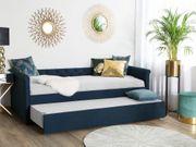Tagesbett ausziehbar Polsterbezug marineblau Leinenoptik