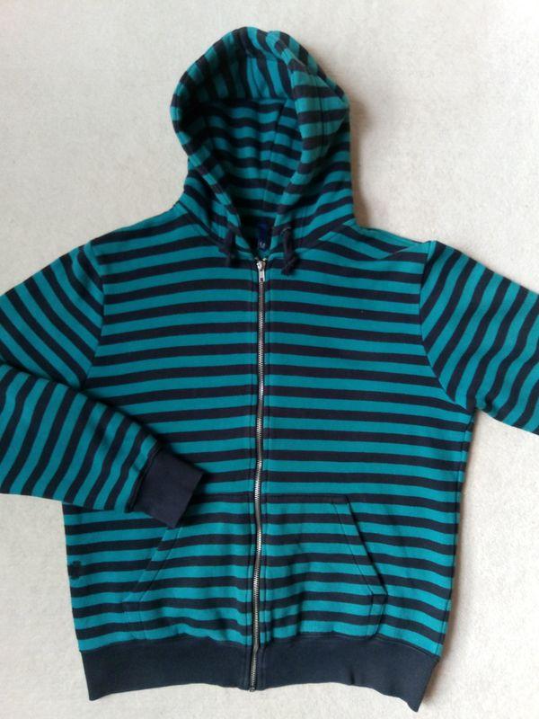 H&M Sweat Jacke schwarz türkis gestreift mit Kapuze Gr. M in