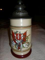 Porzellan-Bierkrug mit Zinndeckel 1880 1890