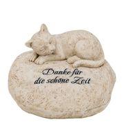 Grabstein Katze mit Gravur Danke