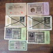 Ich biete folgende Reichs-Banknoten Geldscheine