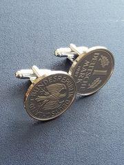 eine Mark Münze Manschettenknöpfe