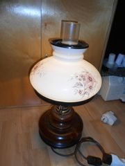 Nachttisch Lampe Retro mit Glasschirm