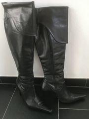 Damenstiefel Leder Overknees Gr38 schwarz